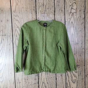 Eileen Fisher Irish Linen Green Cardigan Small P